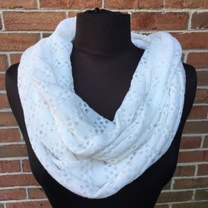 White Knit Infinity Scarf